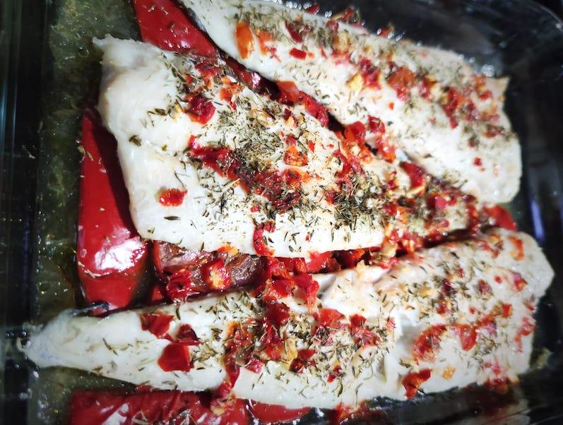 pescado con pimientos